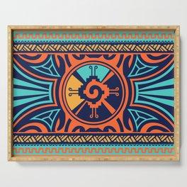 Colorful Hunab Ku Mayan symbol #2 Serving Tray