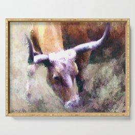 Texas Longhorn Cattle Art - Rumble Ready Serving Tray
