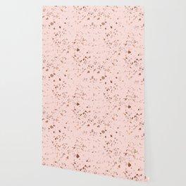 Rose Gold Pink Terrazzo Wallpaper