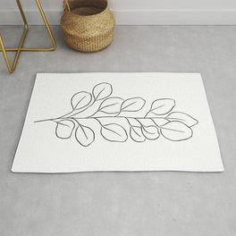 Eucalyptus Leaves | Line Drawing | Abstract | Tropical Leaf Rug