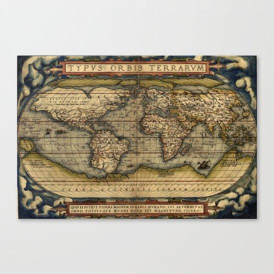 Vintage World Map - Ortelius World Map 1570 Canvas Print