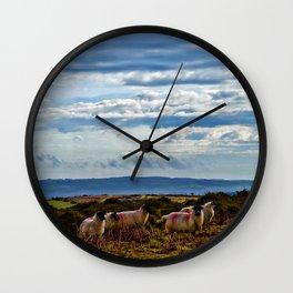 Sheep on the moors Wall Clock
