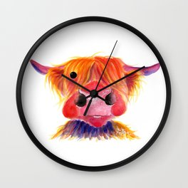 Scottish Highland Cow ' HeRbiE ' by Shirley MacArthur Wall Clock