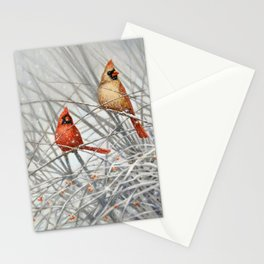 Cardinal Couple in Winter Stationery Cards