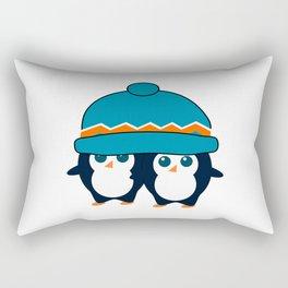 When two cute penguins find a beanie Rectangular Pillow