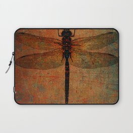Dragonfly On Orange and Green Background Laptop Sleeve