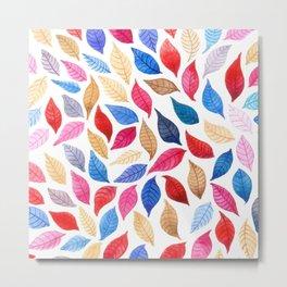 Colorful leaves pattern in watercolor Metal Print