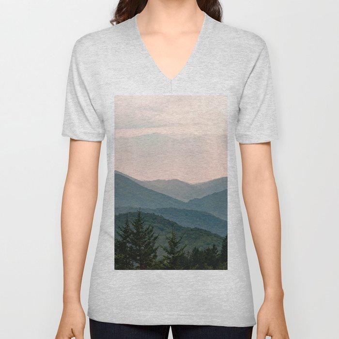 Smoky Mountain Pastel Sunset Unisex V-Neck