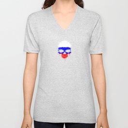 Flag of Russia on a Chaotic Splatter Skull Unisex V-Neck