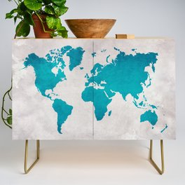 Map of the World - Blue Steel Credenza