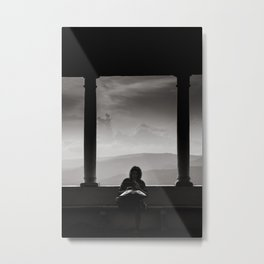 Silhouette of a Man playing HandPan Metal Print