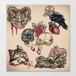 Tattoo Flash Canvas Print
