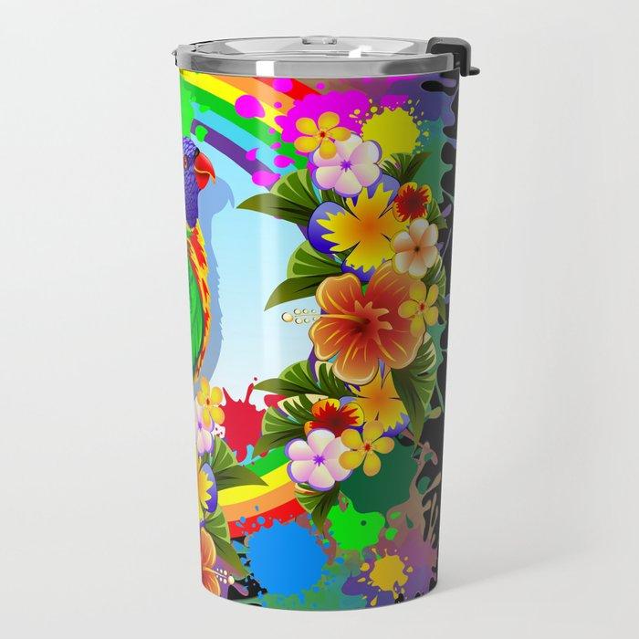 Rainbow Lorikeet Parrot Art Travel Mug