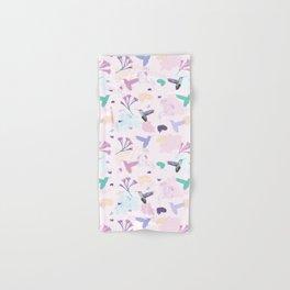 Hummingbird and flower pastel petal pattern Hand & Bath Towel