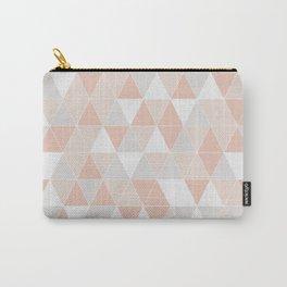 Peach & Gray Geometric Art Carry-All Pouch