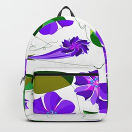 Morning  Glories in Purples and Lavender Backpack