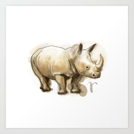 Rhino (Alphabetical Animals) Art Print