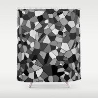 gray pattern Shower Curtains featuring Gray Monochrome Mosaic Pattern by Margit Brack