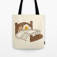 bed Tote Bags featuring Breakfast In Bed  by Terry Fan