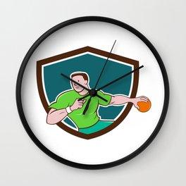 Handball Player Throwing Ball Crest Cartoon Wall Clock