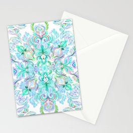 Painted Rainbow Doodles Stationery Cards