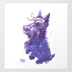Serving scottie Art Print