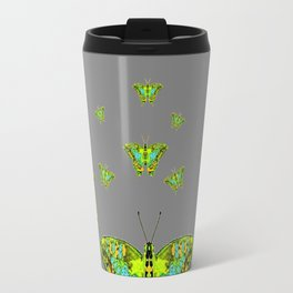 BLUE-GREEN-YELLOW PATTERNED MOTHS ON GREY Travel Mug