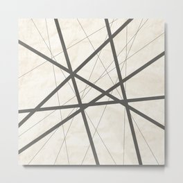Black Lines Retro Texture Metal Print