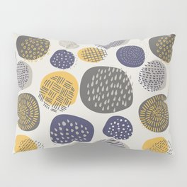 Abstract Circles in Mustard, Charcoal, and Navy Pillow Sham