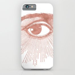 I see you. Rose Gold Pink Quartz on White iPhone Case