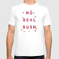 No Real Rush MEDIUM White Mens Fitted Tee