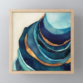 Abstract Blue with Gold Framed Mini Art Print