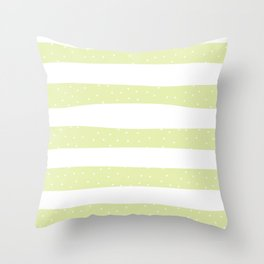 Christmas Simple seamless pattern Snow confetti on White and Pastel Yellow Lime Stripes Background Throw Pillow