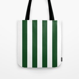 Jumbo Forest Green and White Rustic Vertical Cabana Stripes Tote Bag