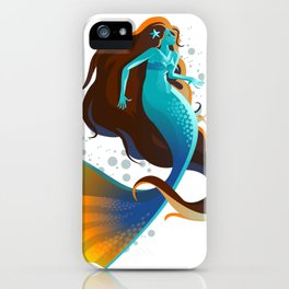colorful mermaid swimming iPhone Case