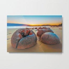 Unreal Moeraki Boulders at low tide, Koekohe beach, New Zealand Metal Print