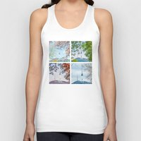 seoul Tank Tops featuring Seoul Tower Seasons - Square by Zayda Barros