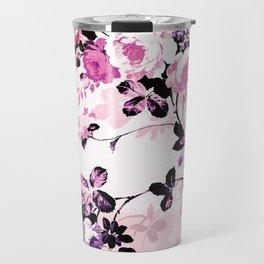 Modern blush pink black watercolor country floral Travel Mug