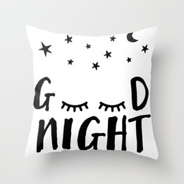 Good Night - Closed Eyes, Moon and Stars quote Throw Pillow