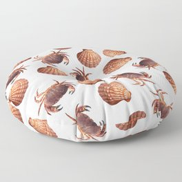 scallop Crab pattern design white Floor Pillow