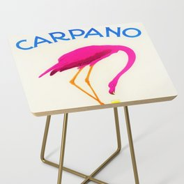 Vintage Carpano Pink Flamingo Motif Vermouth Advertisement Poster Side Table