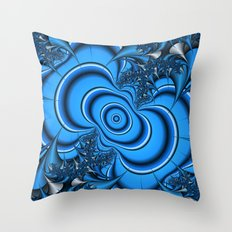 Blue and silver thorns fractal Throw Pillow