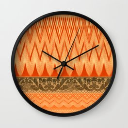 crochet mixed with lace in warm mood Wall Clock