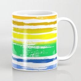 Pride Rainbow Gradient Funky Grunge Brushstrokes on White Coffee Mug