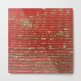 Chipped Red Painted Wood Metal Print