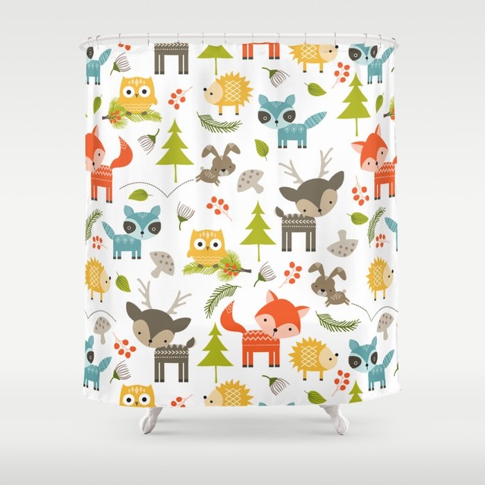 Woodland Animals Shower Curtain By Huntleigh