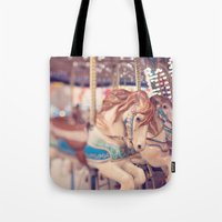 carousel Tote Bags featuring Carousel by Laura Ruth