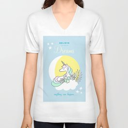 Believe in your dreams - Cute Unicorn in the clouds Unisex V-Neck