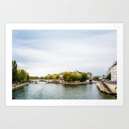 Seine river at Saint Louis island confluence in Paris Art Print