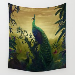 Green Peafowl (pavo muticus) Wall Tapestry